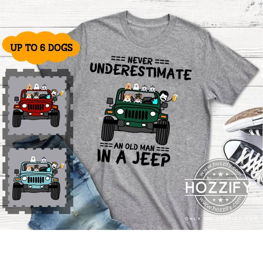 Jeep never underestimate an old man in a jeep personalized shirt personalized custom perfect gift idea shirt