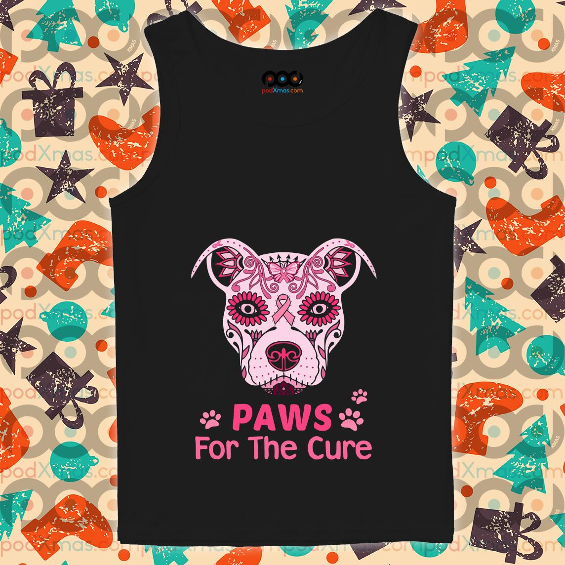 Dog Tattoos Cancer Awareness Paw for the cure tank top