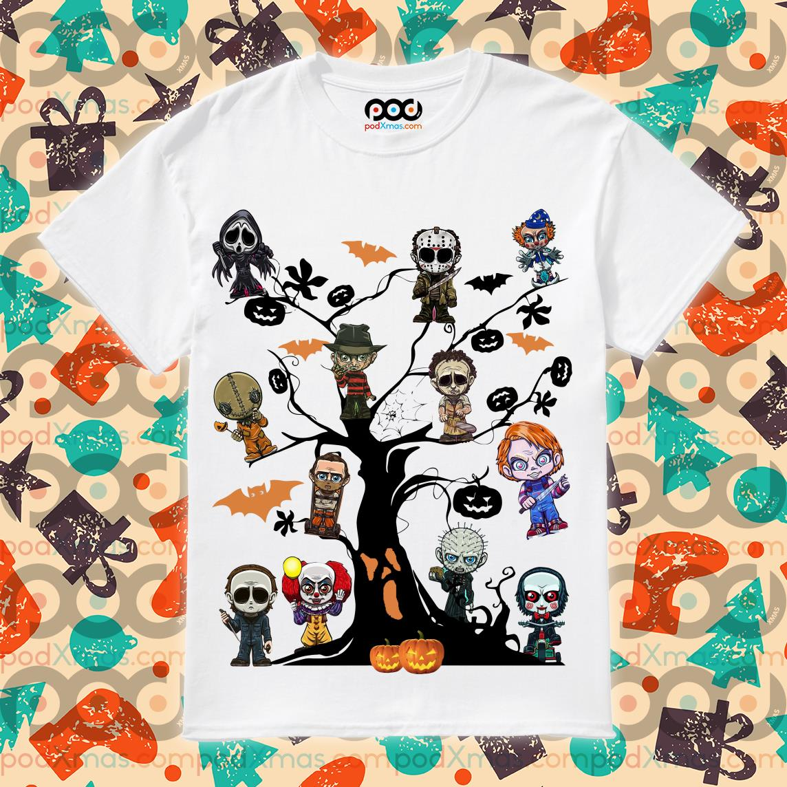 Horror characters Halloween Tree shirt