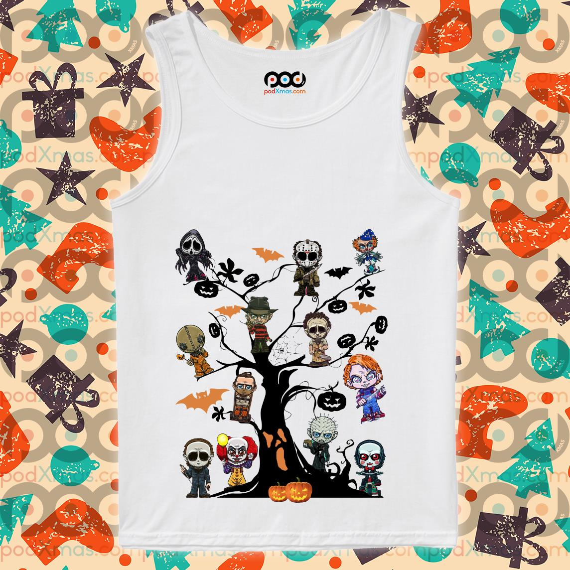 Horror characters Halloween Tree tank top