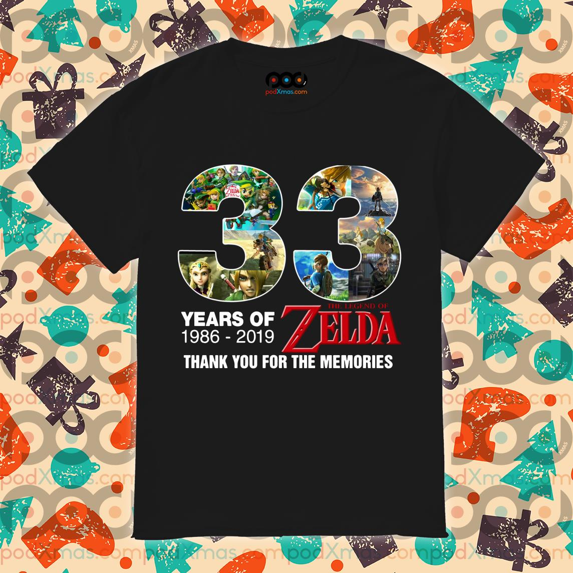 33 years of The legend of Zelda 1986 2019 thank you shirt