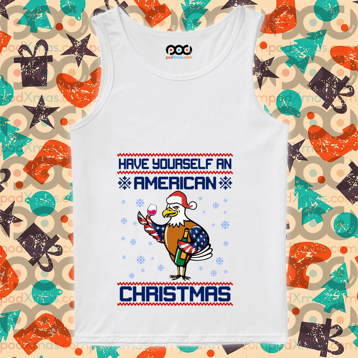 Have yourself an American Christmas White head eagle tank top