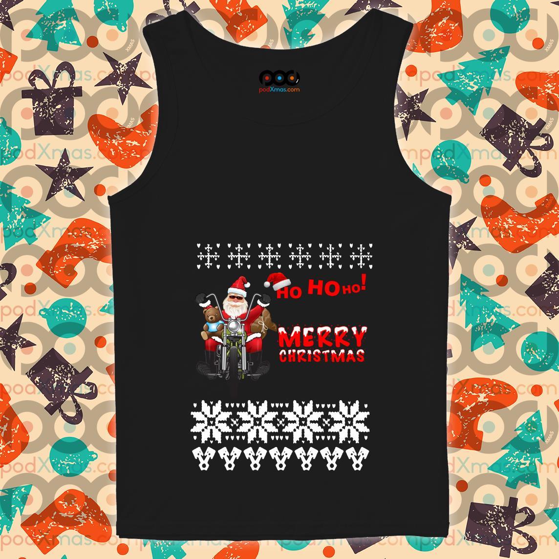 Ho Ho Ho Merry Christmas Santa Claus biker tank top