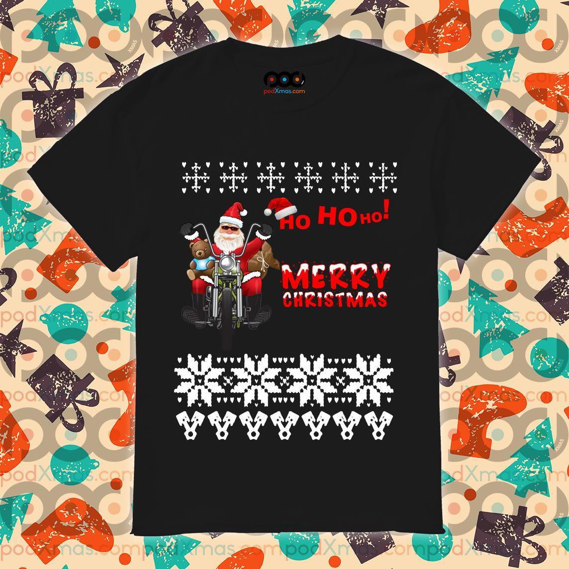 Ho Ho Ho Merry Christmas Santa Claus biker shirt