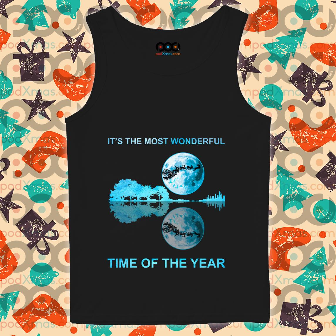 It's the most wonderful time of the year reflection guitar and moon Christmas tank top