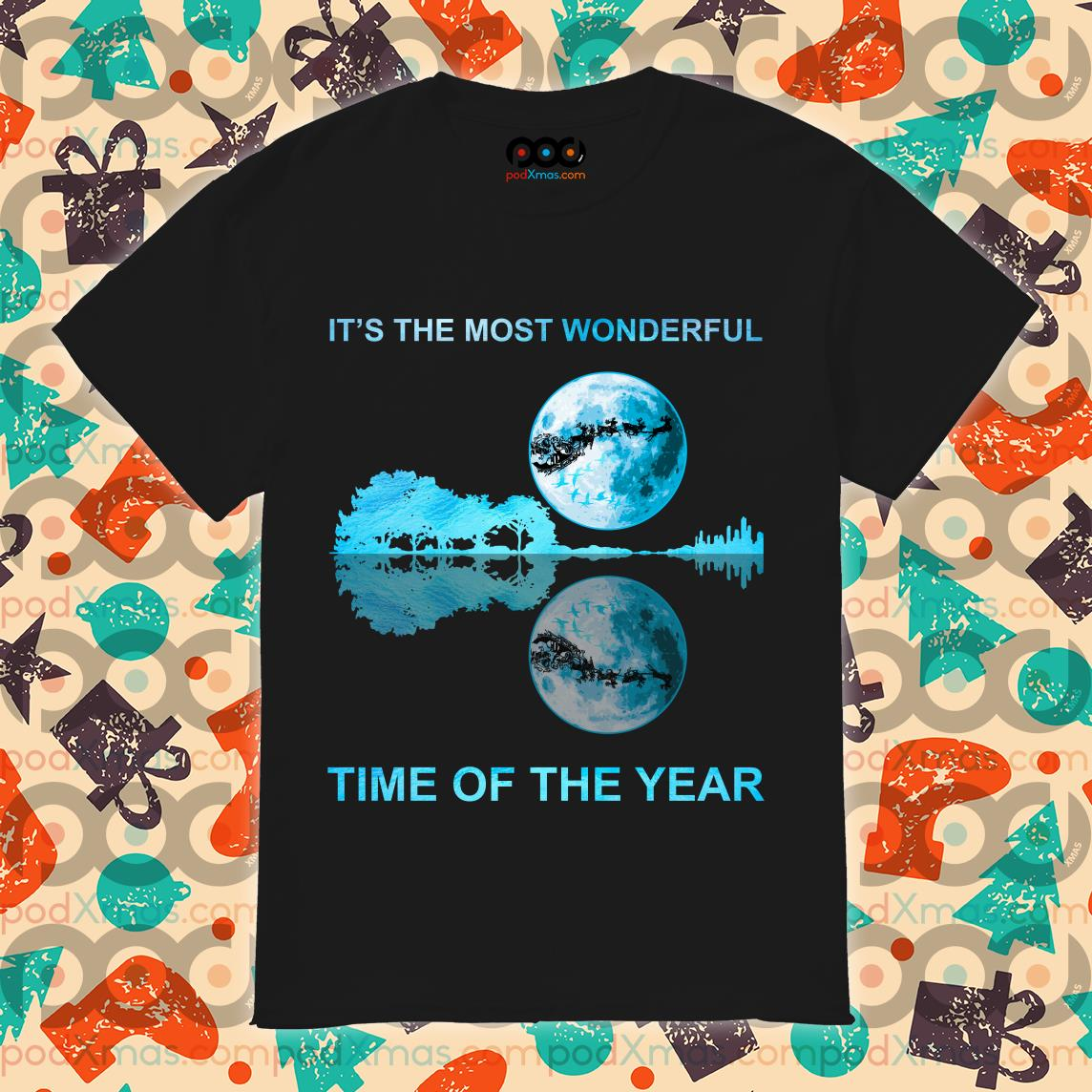 It's the most wonderful time of the year reflection guitar and moon Christmas shirt