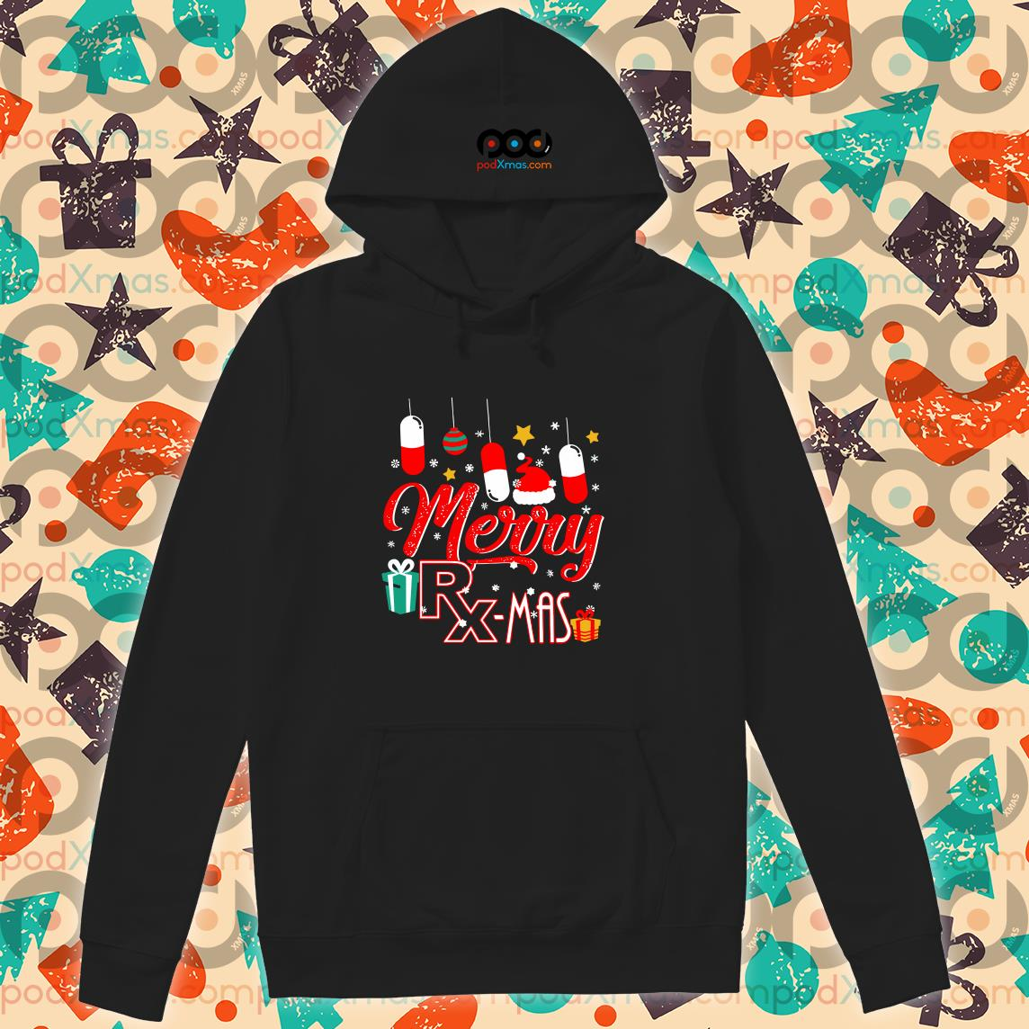 Pharmacist Merry RX mas Christmas hoodie