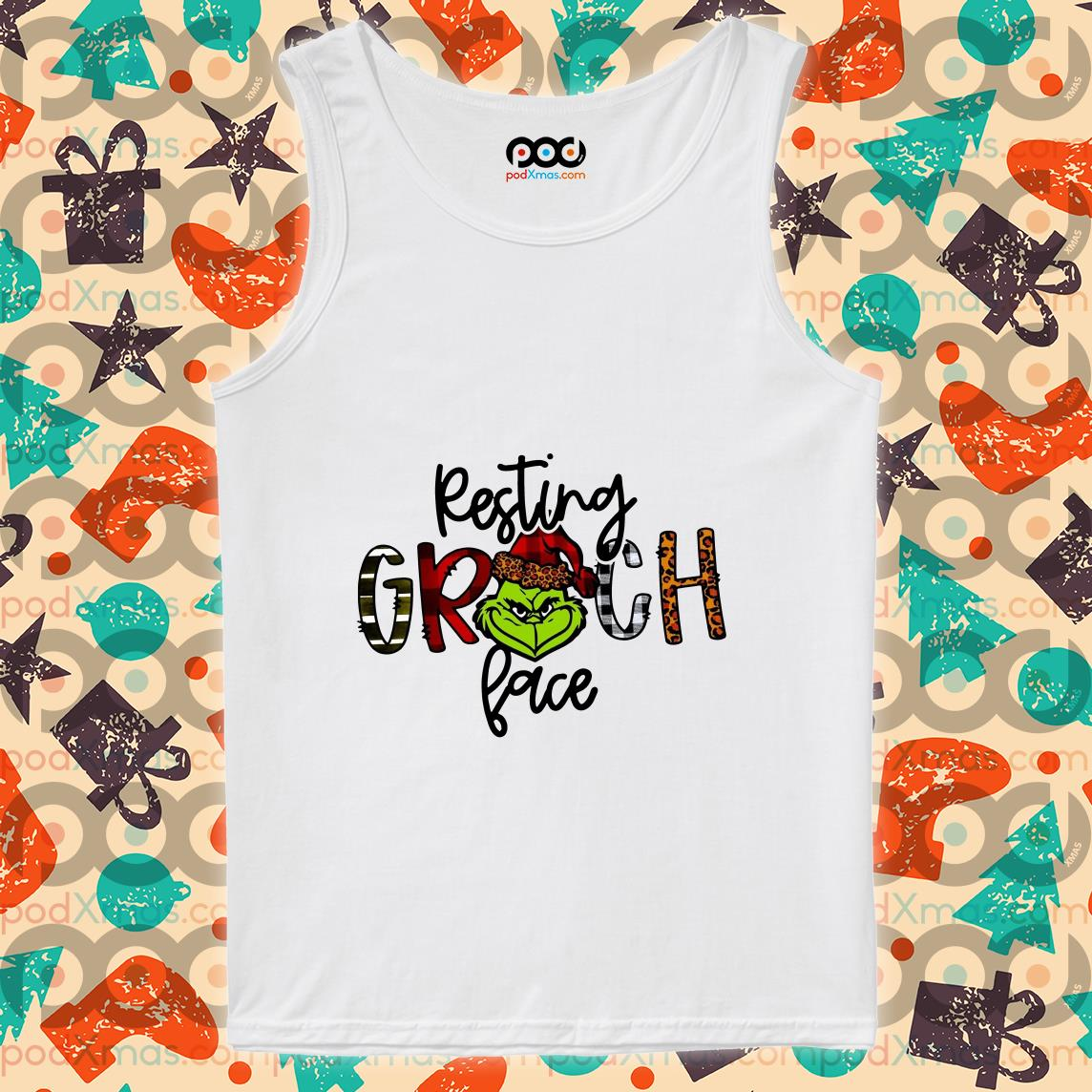 Resting Grinch face Christmas tank top