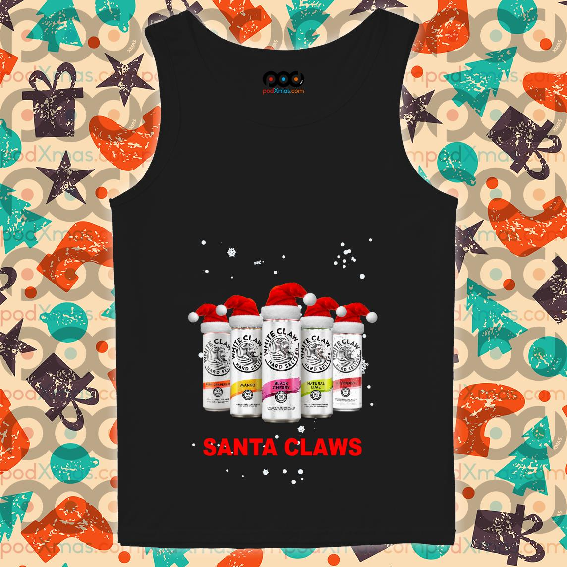 Santa Claws White Claws parody Christmas tank top