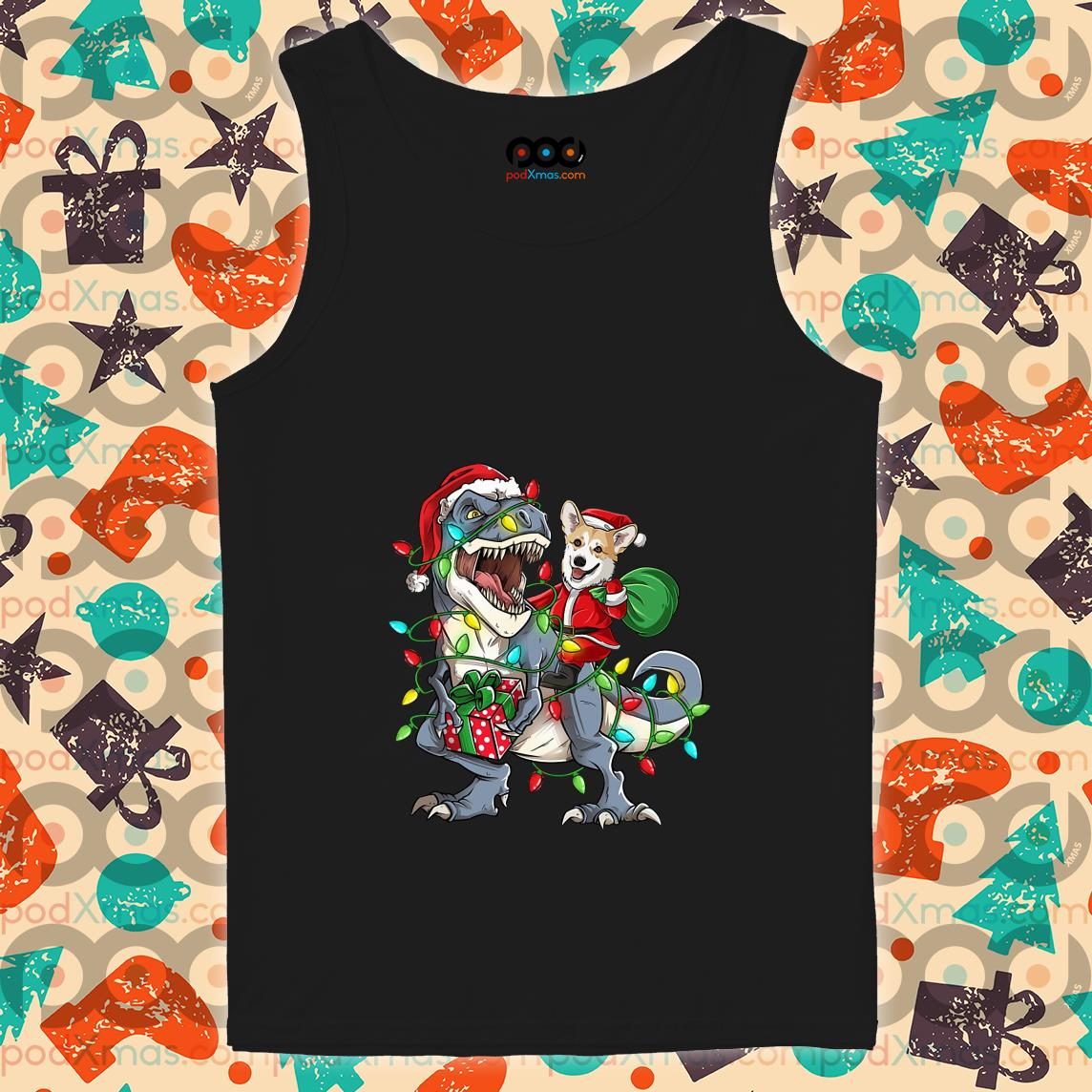 Corgi riding T-rex Dinosaur Christmas light tank top