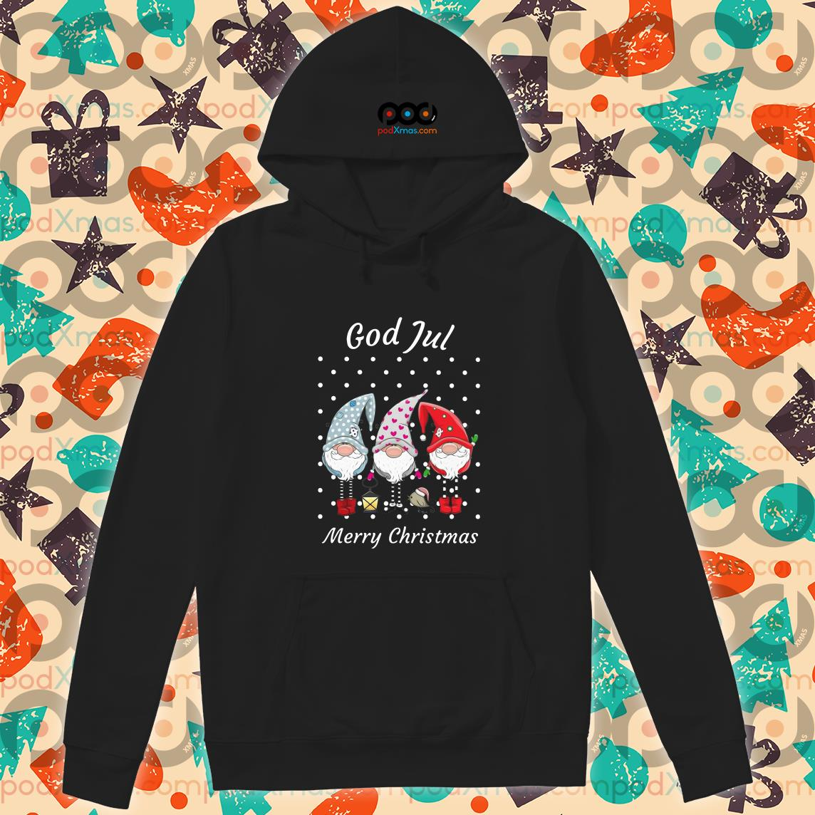 God jul Merry Christmas Sweden Tomte Gnome hoodie