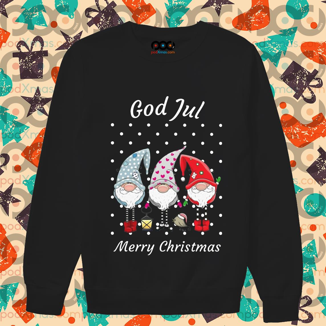 God jul Merry Christmas Sweden Tomte Gnome sweater
