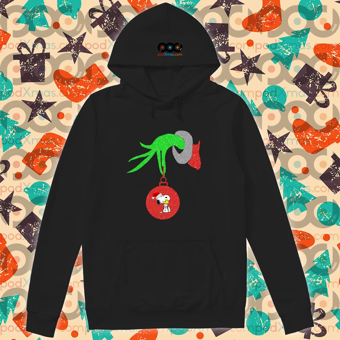 Grinch Hand holding Snoopy hoodie