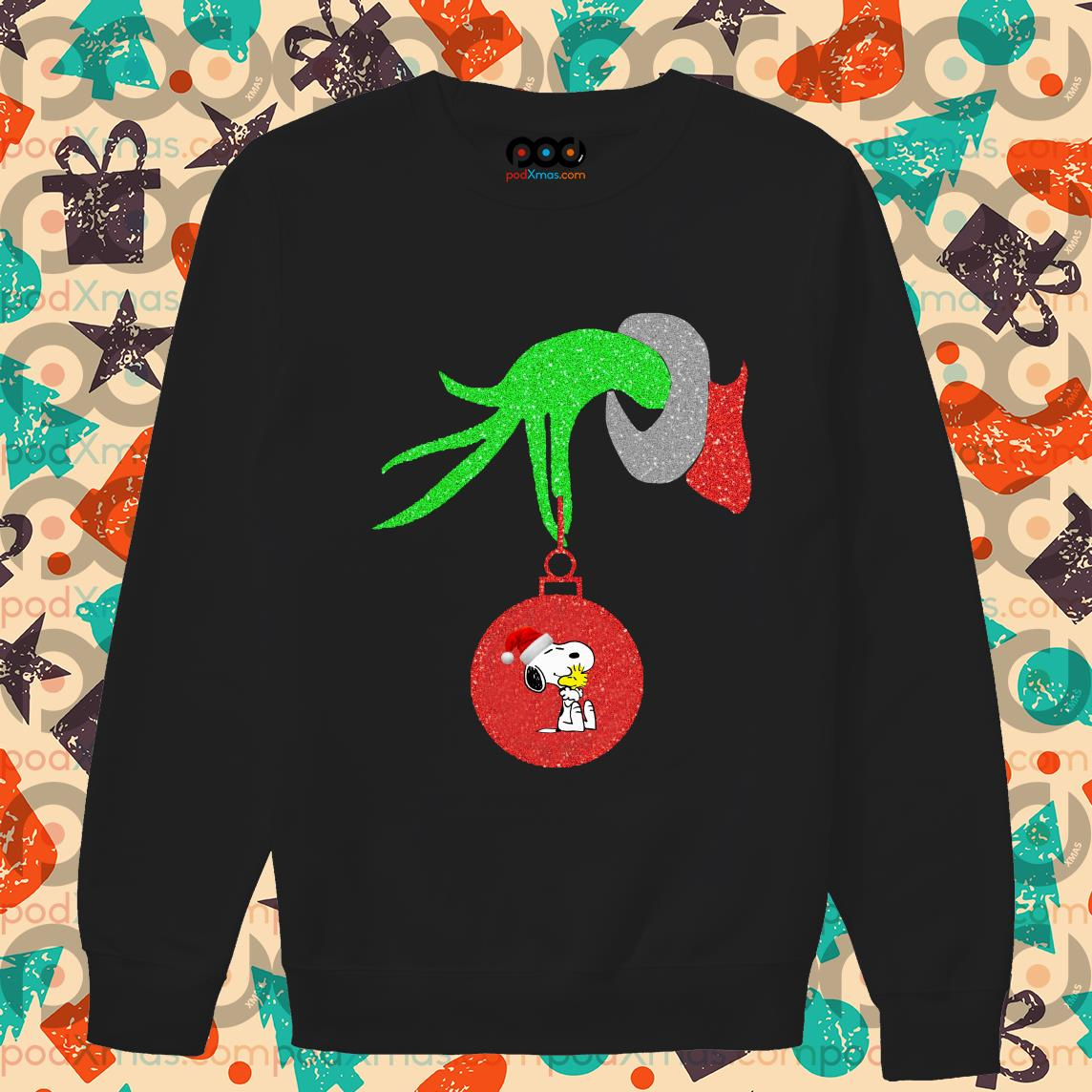 Grinch Hand holding Snoopy sweater