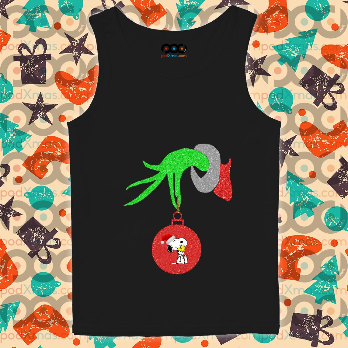 Grinch Hand holding Snoopy tank top