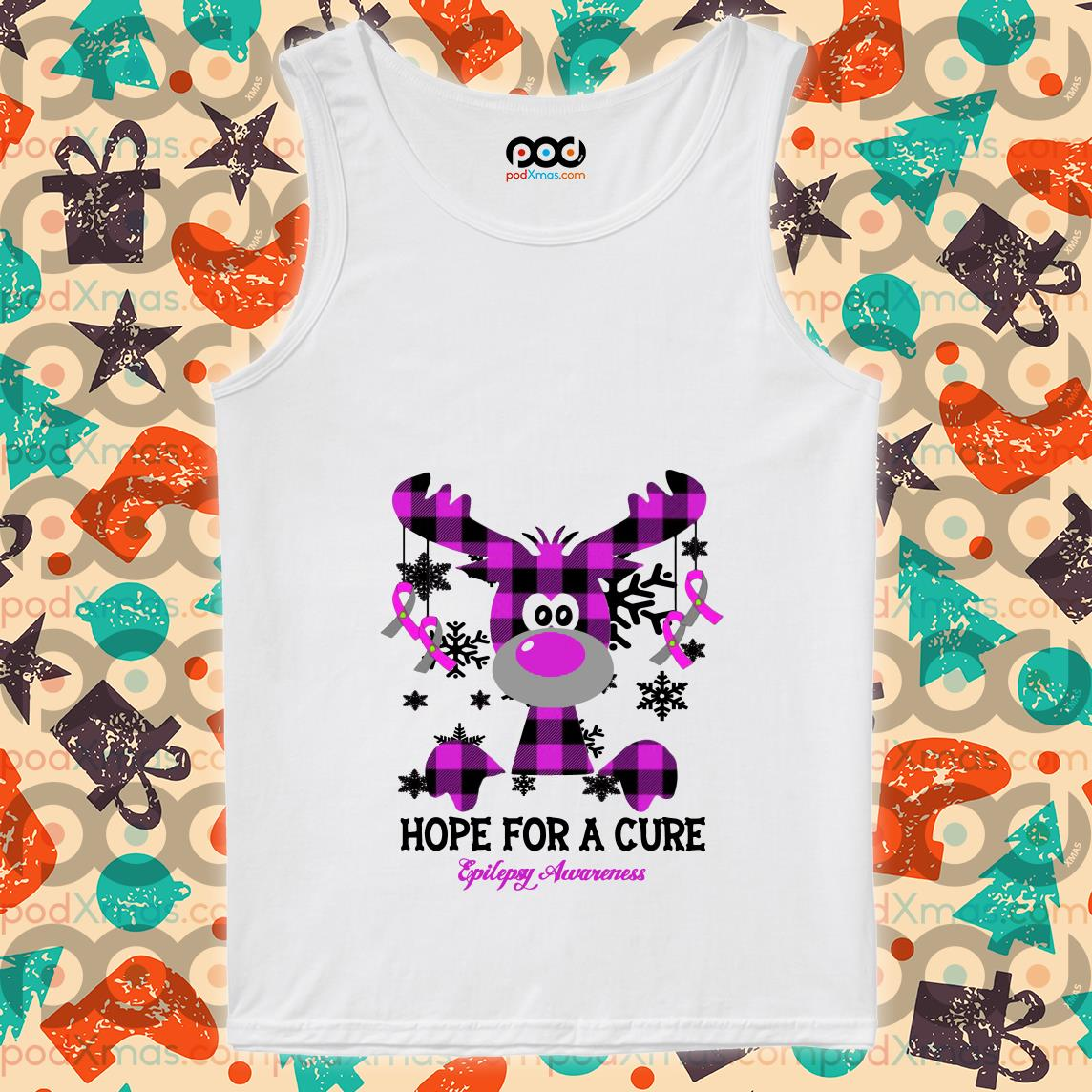 Hope for the cure Epilepsy Awareness Reindeer Plaid tank top
