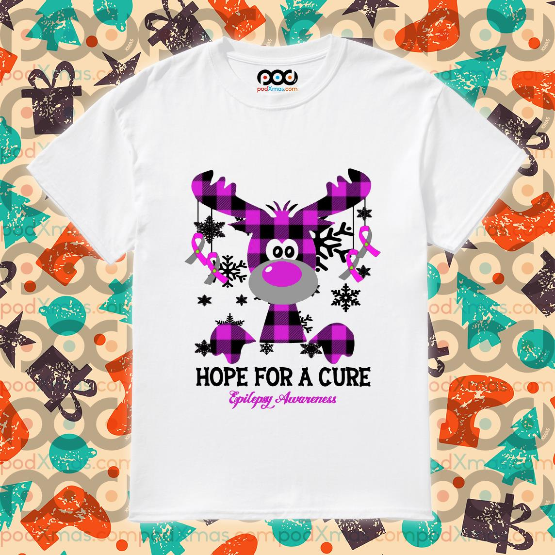 Hope for the cure Epilepsy Awareness Reindeer Plaid shirt