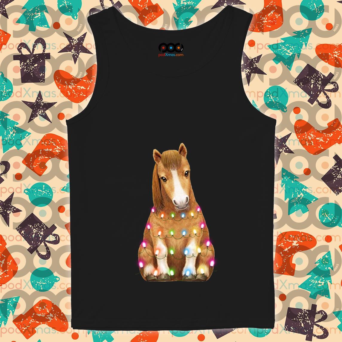 Horse Little Pony Light Christmas tank top