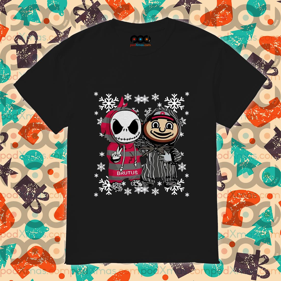 Jack Skellington And Brutus Buckeye Christmas shirt
