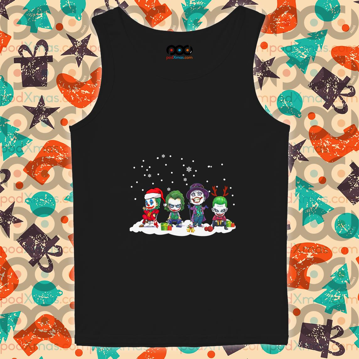 Joker characters chibi Merry Christmas tank top