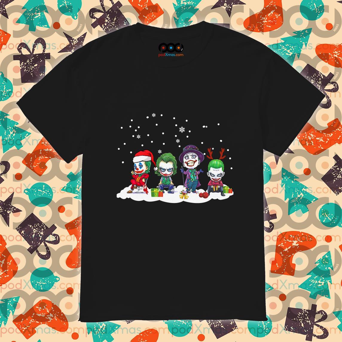 Joker characters chibi Merry Christmas shirt
