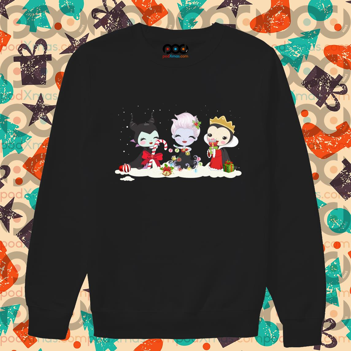 Maleficent Evil Queen Ursula Disney Merry Christmas sweater