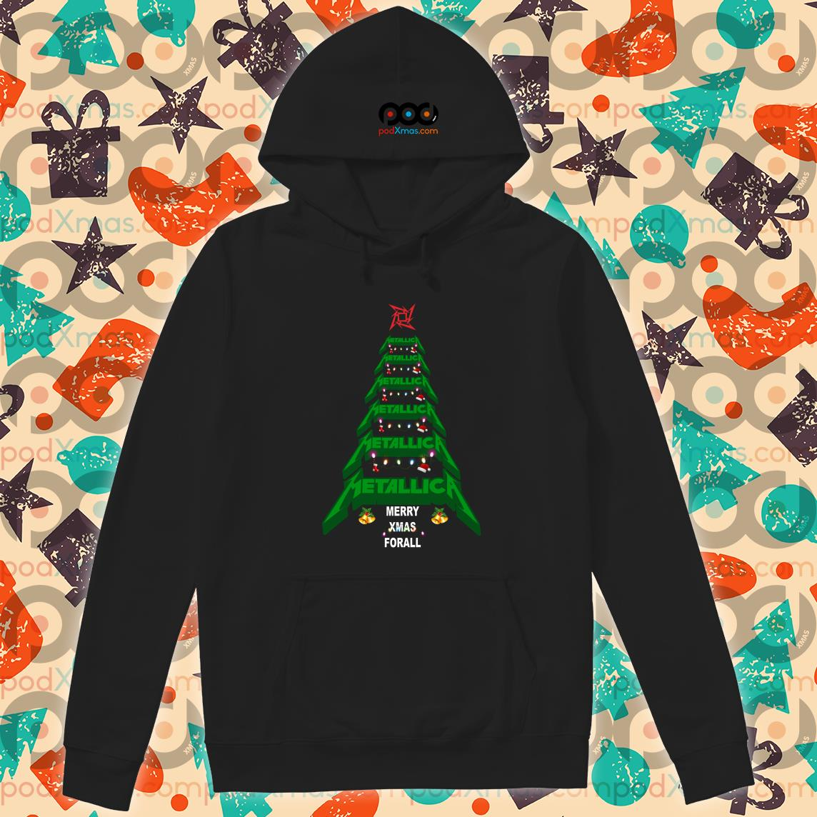 Metallica Merry Xmas For all Green Tree hoodie