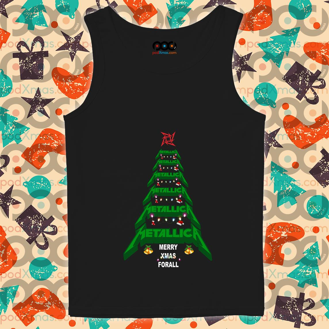 Metallica Merry Xmas For all Green Tree tank top