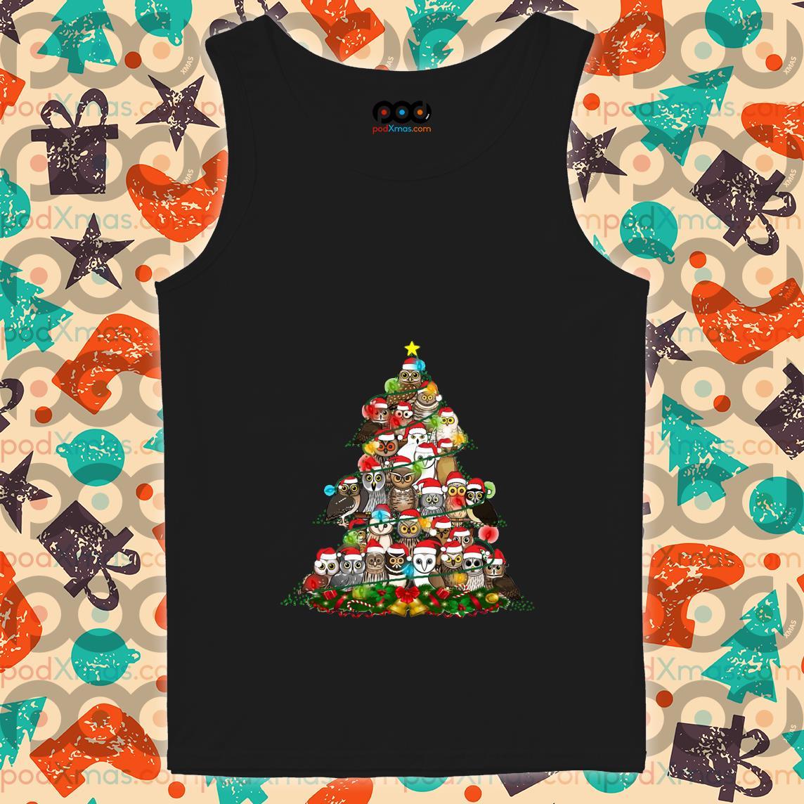 Owls Christmas tree tank top