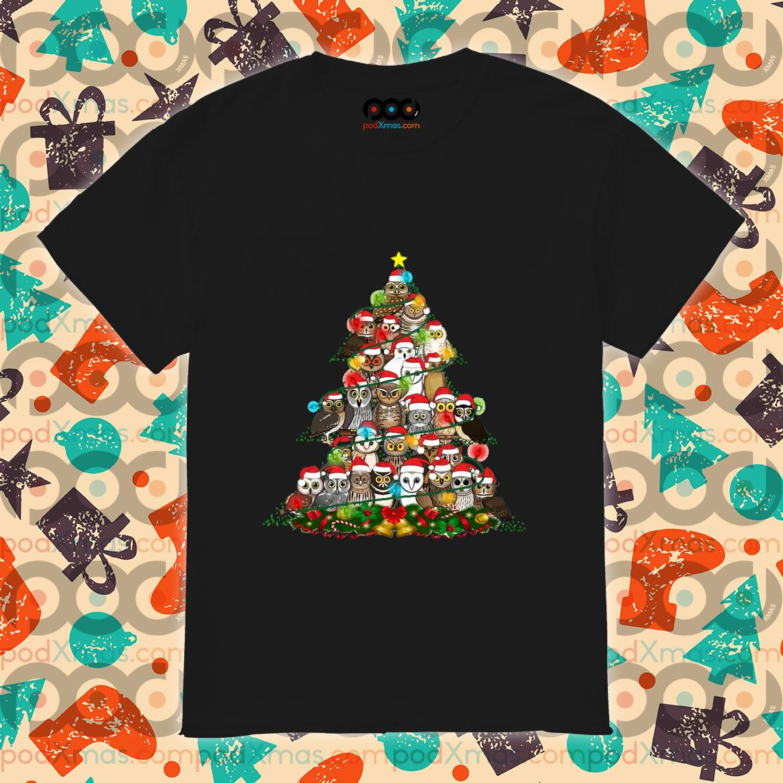 Owls Christmas tree shirt