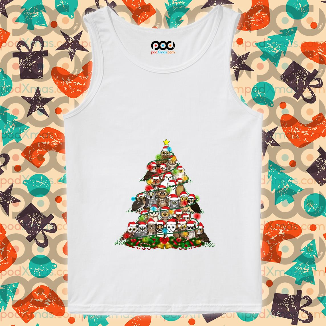 Owls tree Christmas tank top