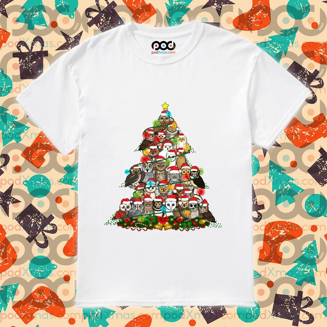Owls tree Christmas shirt