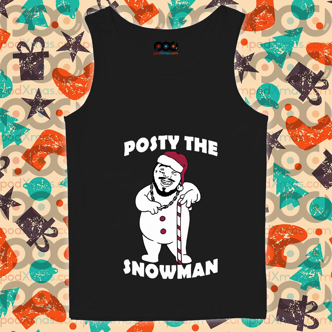 Posty the snowman Post Malone funny Santa Claus tank top
