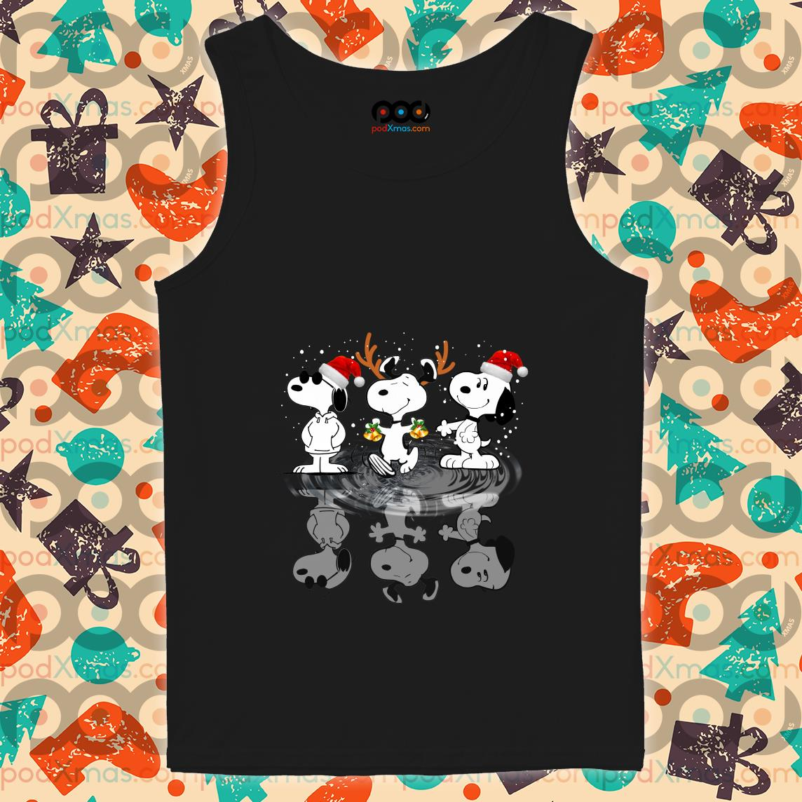 Snoopy water mirror reflection Christmas tank top