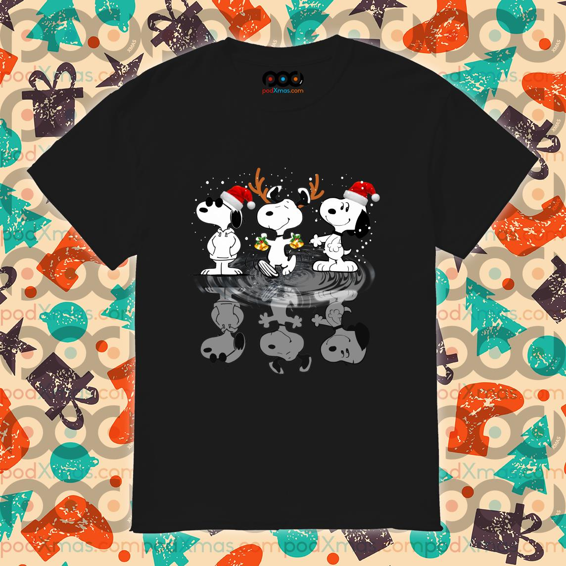 Snoopy water mirror reflection Christmas shirt