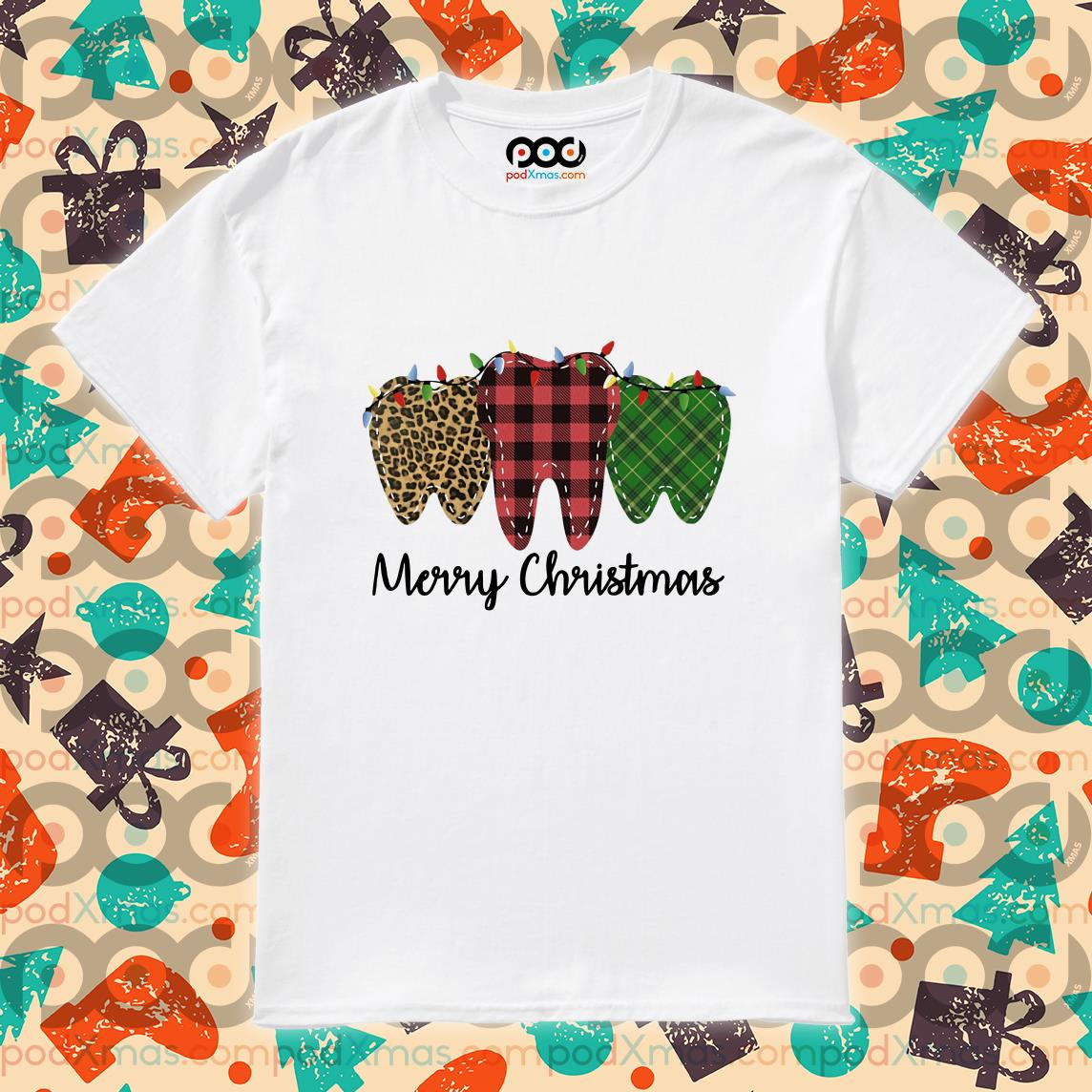 Teeth Leopard Plaid Merry Christmas shirt