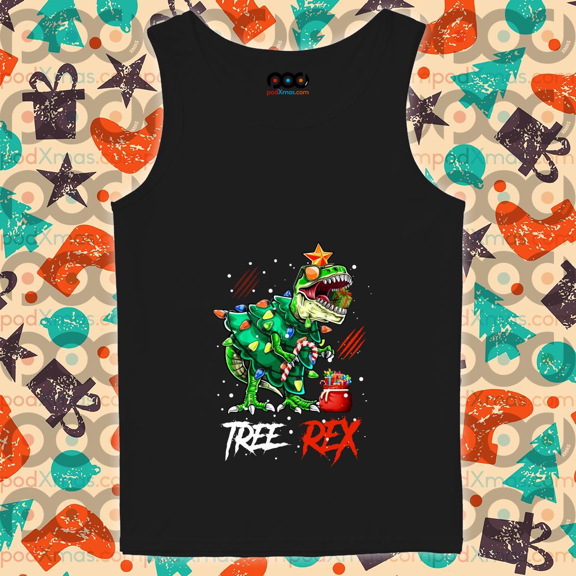 Tree Rex T-rex Christmas Dinosaur tank top