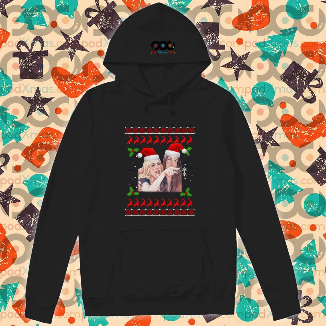 Woman Yelling at a Cat Ugly Christmas hoodie