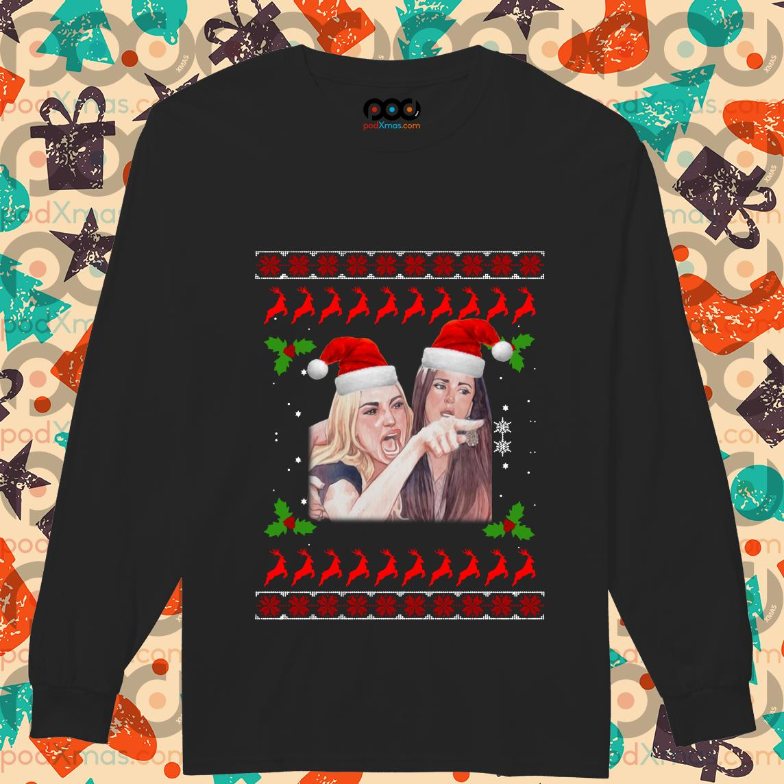 Woman Yelling at a Cat Ugly Christmas long sleeve