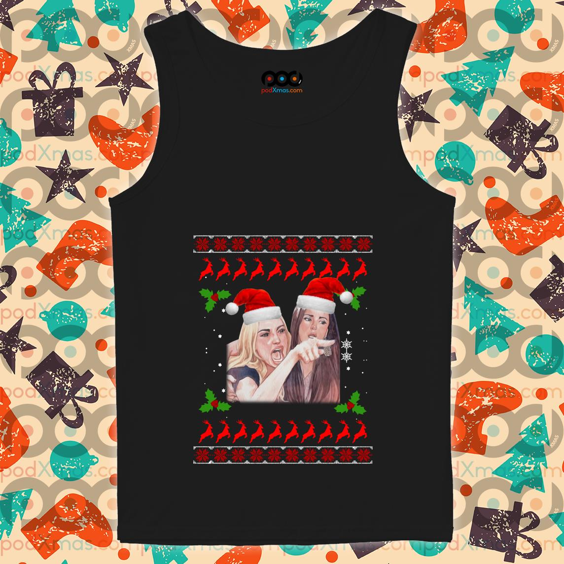 Woman Yelling at a Cat Ugly Christmas tank top