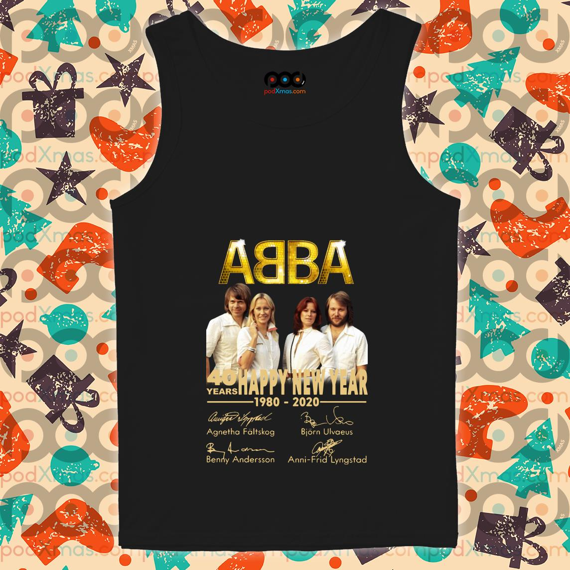 Abba 40 years Happy New Year 1980 2020 signatures tank top