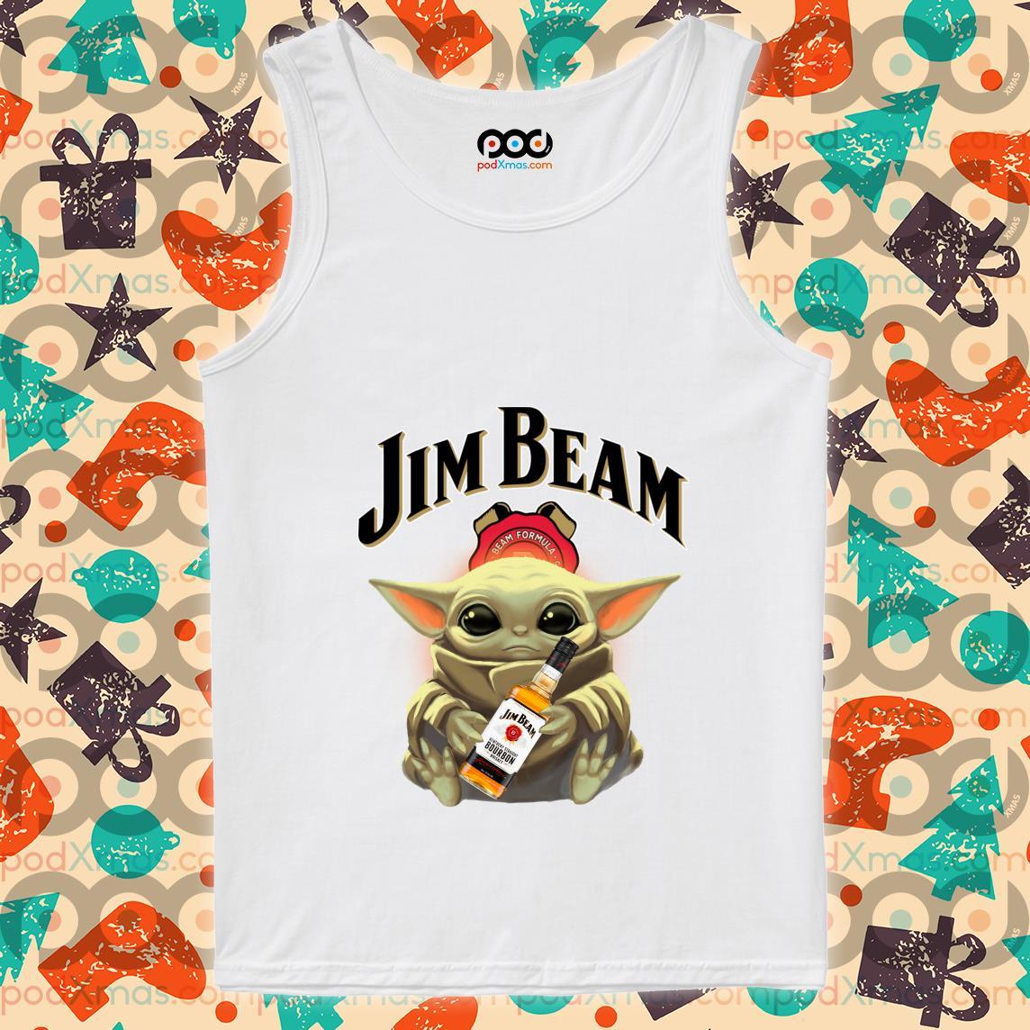 Baby Yoda hug Jim Beam tank top