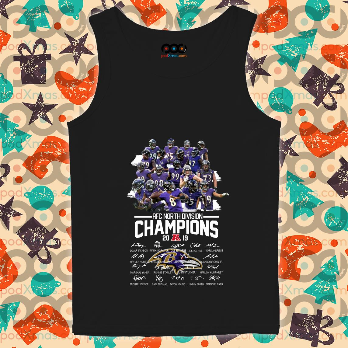 Baltimore Ravens AFC North Division Champions 2019 signatures tank top