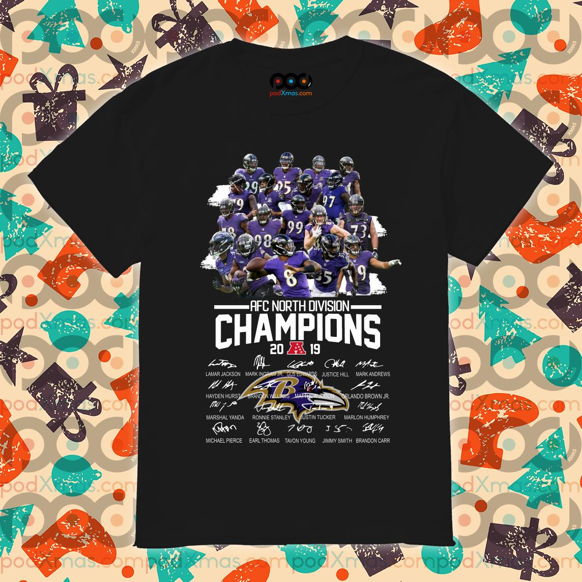Baltimore Ravens AFC North Division Champions 2019 signatures shirt