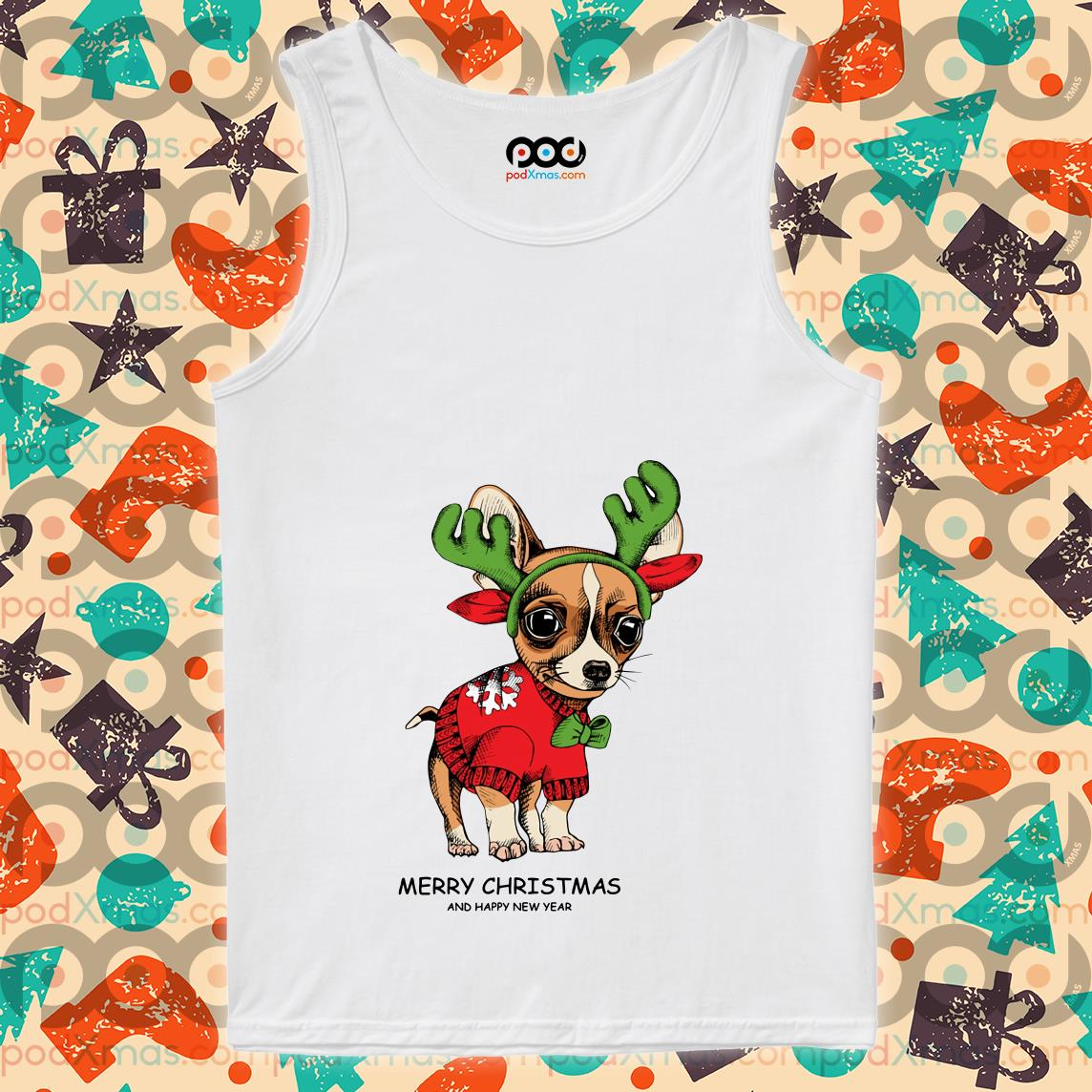 Chihuahua Reindeer Merry Christmas and Happy New Year tank top