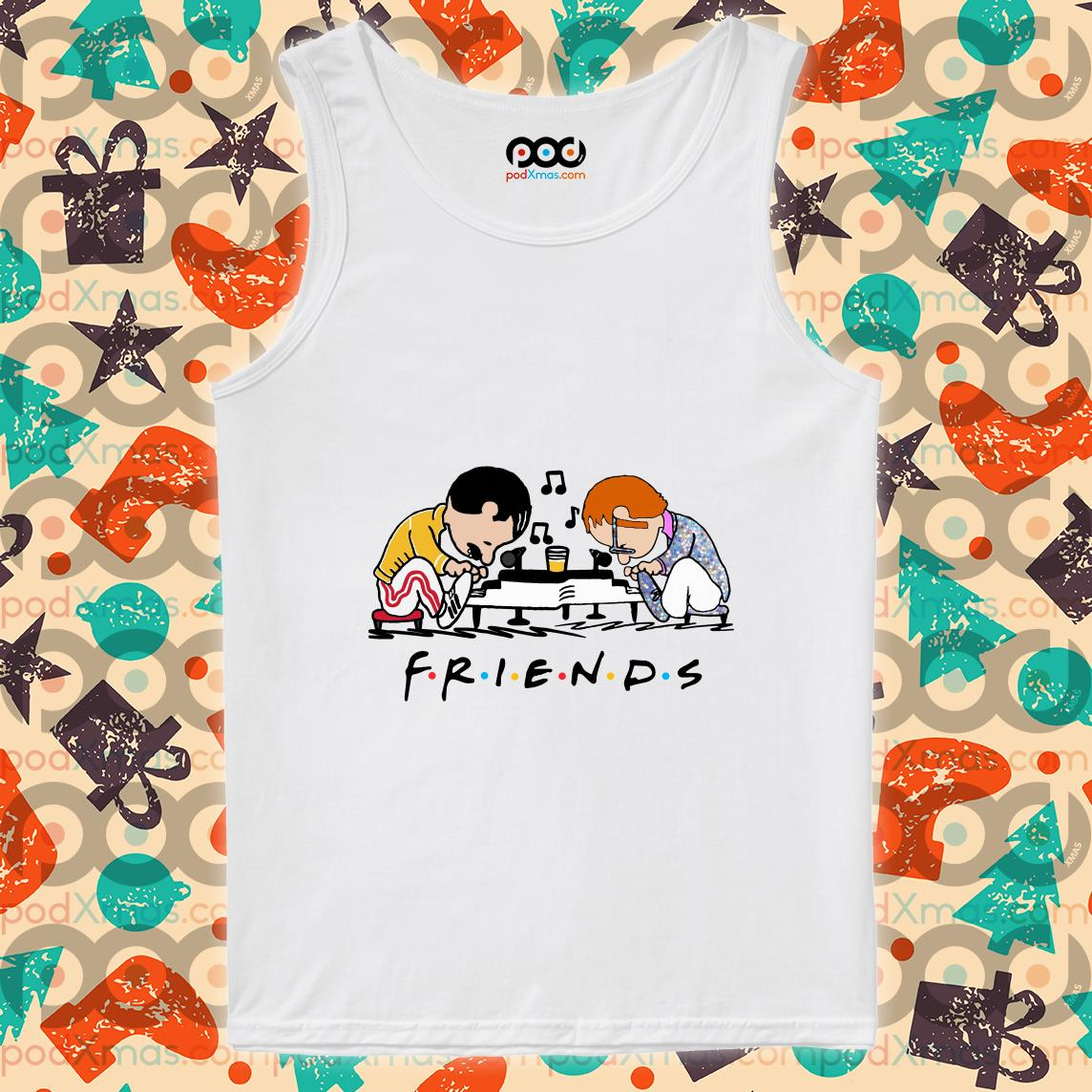 Freddie Mercury and Elton John playing Piano Schroeder Friends tank top