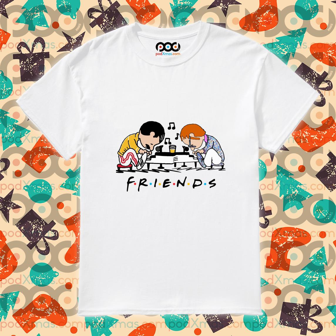 Freddie Mercury and Elton John playing Piano Schroeder Friends shirt