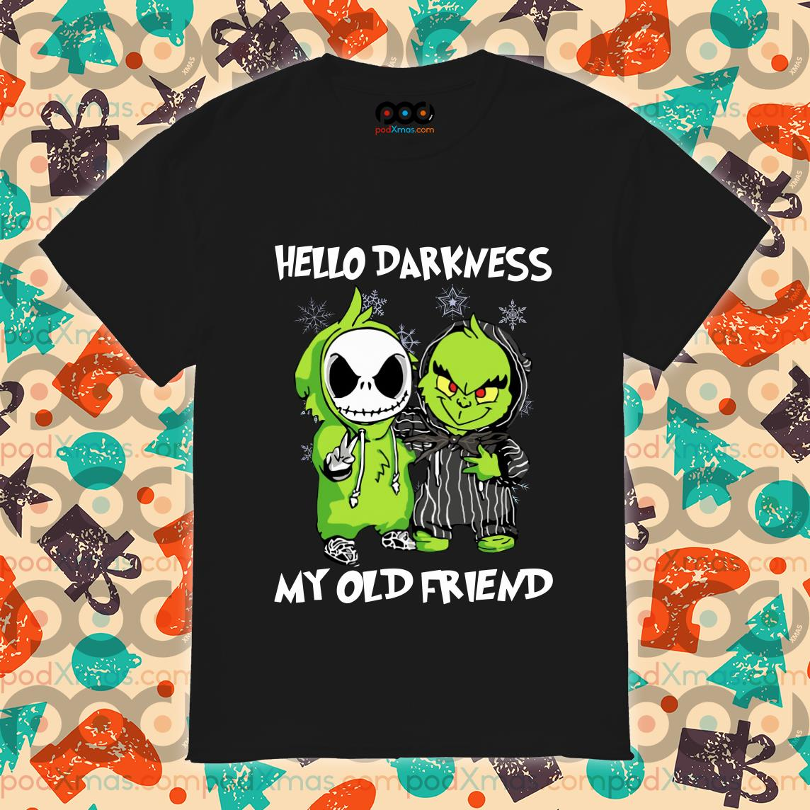 Grinch and Skelington Hello Darkness my old friends shirt