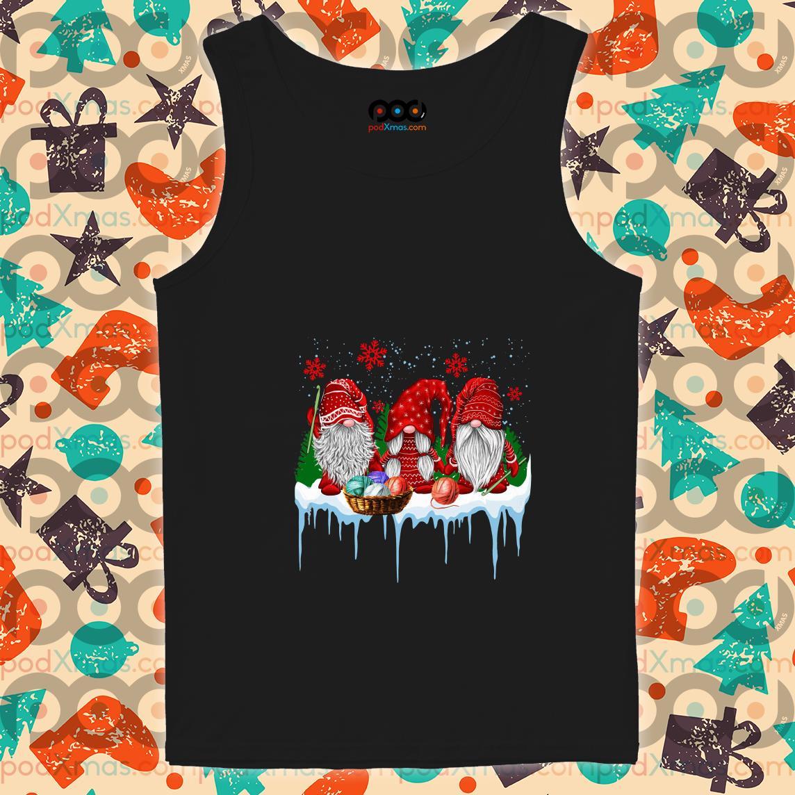 Red Gnomies Yarn Merry Christmas tank top