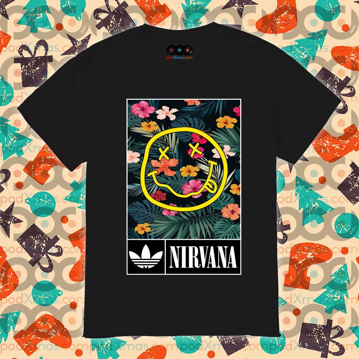 Adidas flower Nirvana shirt